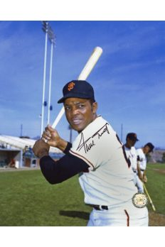 Willie Mays Signed 8x10 Photo Autographed Posed Batting Grainy