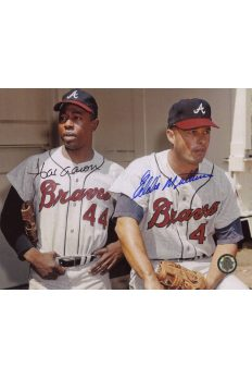 Hank Aaron Eddie Mathews Signed 8x10 Photo Autographed
