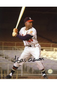 Hank Aaron Signed 8x10 Photo Autographed at Plate grainy