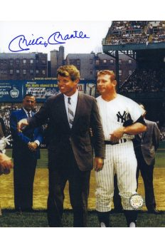 Mickey Mantle Signed 8x10 Photo Autographed With RFK at Yankee Stadium