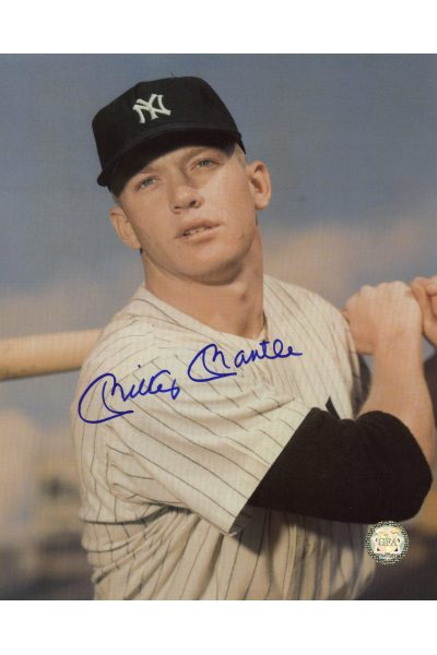 Mickey Mantle Signed 8x10 Photo Autographed Posed Close up Swinging