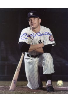 Mickey Mantle Signed 8x10 Photo Autographed Kneeling on Deck 1953
