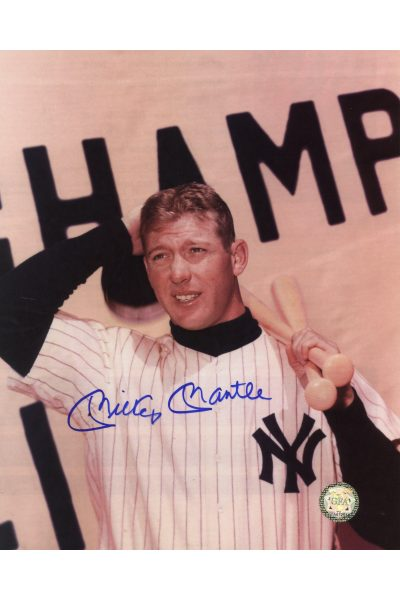 Mickey Mantle Signed 8x10 Photo Autographed Interview