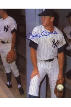 Mickey Mantle Signed 8x10 Photo Autographed Leaning on wall in Dugout