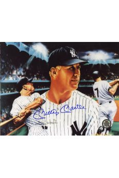 Mickey Mantle Signed 8x10 Photo Autographed Artwork