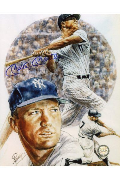 Mickey Mantle Signed 8x10 Photo Autographed Artwork Swinging