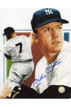 Mickey Mantle Signed 8x10 Photo Autographed Artwork Close up