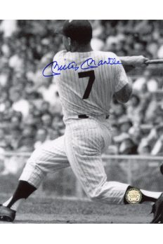 Mickey Mantle Signed 8x10 Photo Autographed Hitting at plate