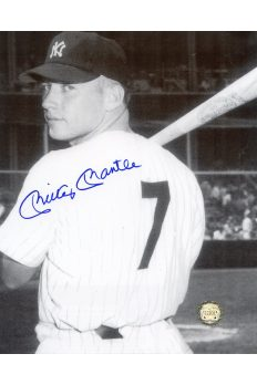 Mickey Mantle Signed 8x10 Photo Autographed Posed with Bat looking back