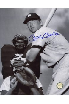 Mickey Mantle Signed 8x10 Photo Autographed Posed at plate with ump