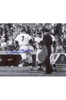 Mickey Mantle Signed 8x10 Photo Autographed Crossing home plate