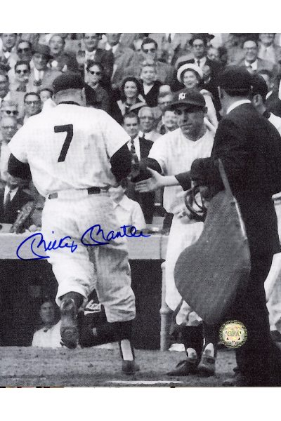 Mickey Mantle Signed 8x10 Photo Autographed Corssing home with Yogi Berra