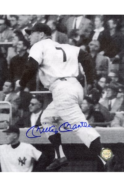Mickey Mantle Signed 8x10 Photo Autographed watching Home Run Grainy