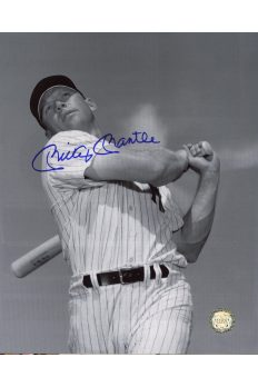 Mickey Mantle Signed 8x10 Photo Autographed Posed Swing B&W