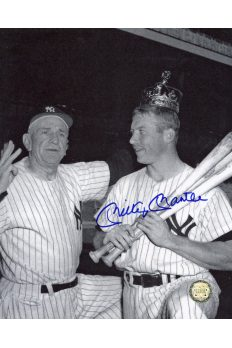 Mickey Mantle Signed 8x10 Photo Autographed In dugout with Casey Stengel