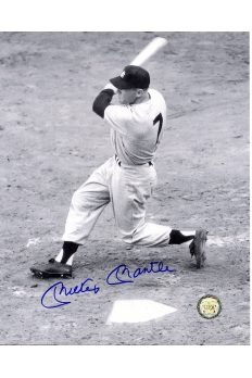 Mickey Mantle Signed 8x10 Photo Autographed Hitting Home Run left