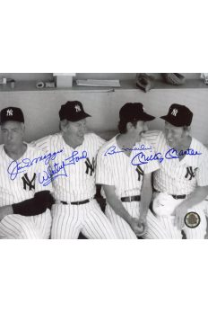 Mickey Mantle Joe DiMaggio Billy Martin Whitey Ford Signed 8x10 Autographed