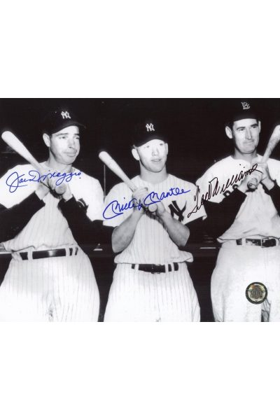 Mickey Mantle Joe DiMaggio Ted Williams Signed 8x10 Photo Autographed