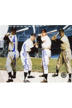 Mickey Mantle Joe DiMaggio Willie Mays Duke Snider Signed 8x10 NY Centerfielders